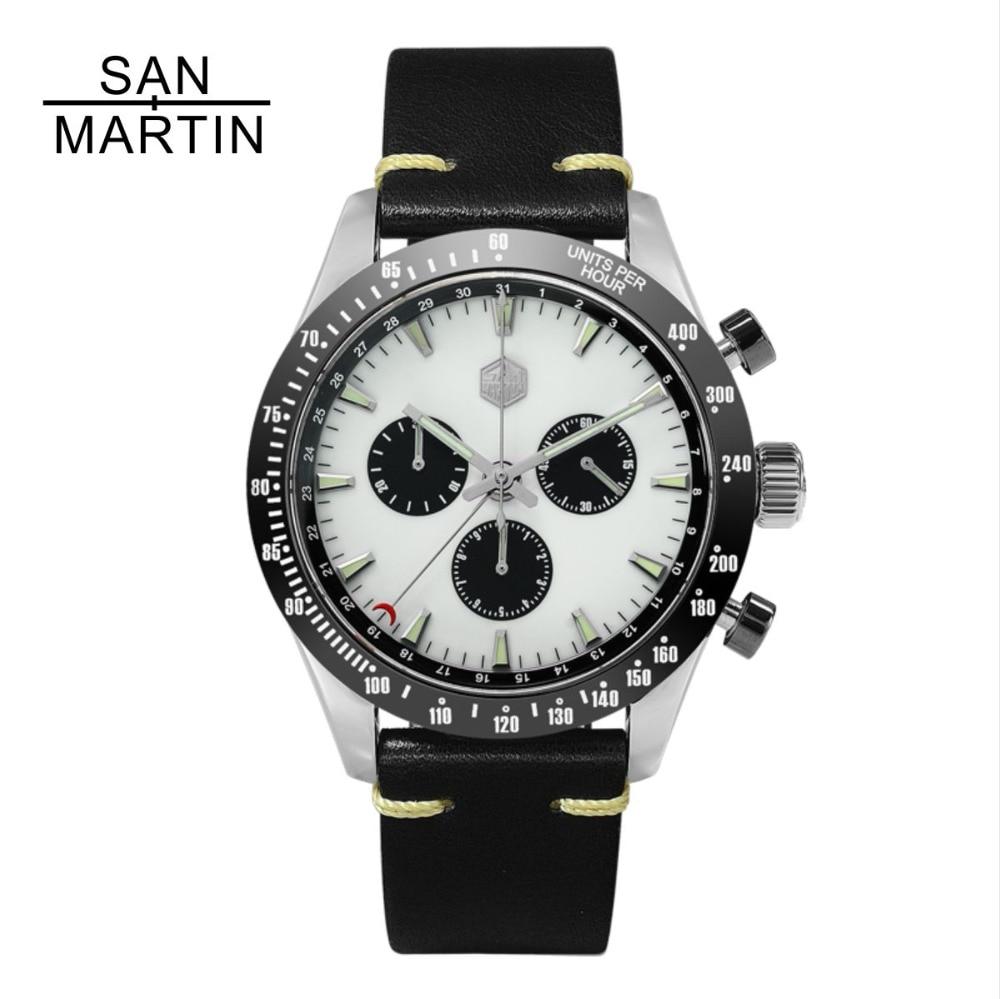 San Martin nuevo reloj de cuarzo Vintage Acero inoxidable reloj cronógrafo bisel de cerámica movimiento suizo reloj de pulsera de alta calidad-in Relojes de cuarzo from Relojes de pulsera    1
