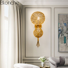 Nordic Gold Leaf Wall Lamp Led Indoor Modern Sconce Light for Bedroom Stair Fixture Loft Industrial Home Decor Luminaire