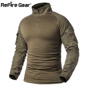 ReFire Gear Men Military Tactical T-shirt Long Sleeve SWAT Soldiers Combat T Shirt Airsoft Clothes Man's Camouflage Army Shirts - DISCOUNT ITEM  33% OFF All Category