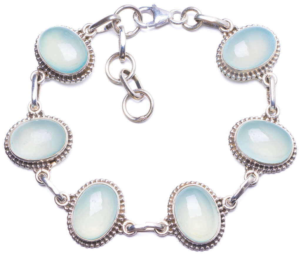 Natural Chalcedony Handmade Unique 925 Sterling Silver Bracelet 7 1/2-8 1/2 Y1375 цена