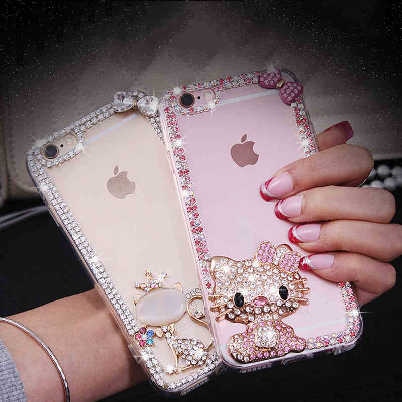 3d Bling Rhinestone Bow Cat Hello Kitty Back Phone Case