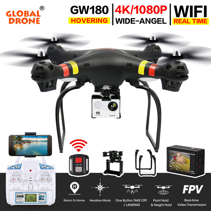 Global Drone GW180 Drones with Camera HD WIFI FPV Dron Altitude Hold RC Quadrocopter 4K Camera Drone VS SYMA X8 X8G X8W X8HW syma x8hw x8hg x8w x8 fpv rc drone with 4k 1080p wifi camera hd altitude hold 6 axis rtf dron rc quadcopter helicopter vs mjx b3