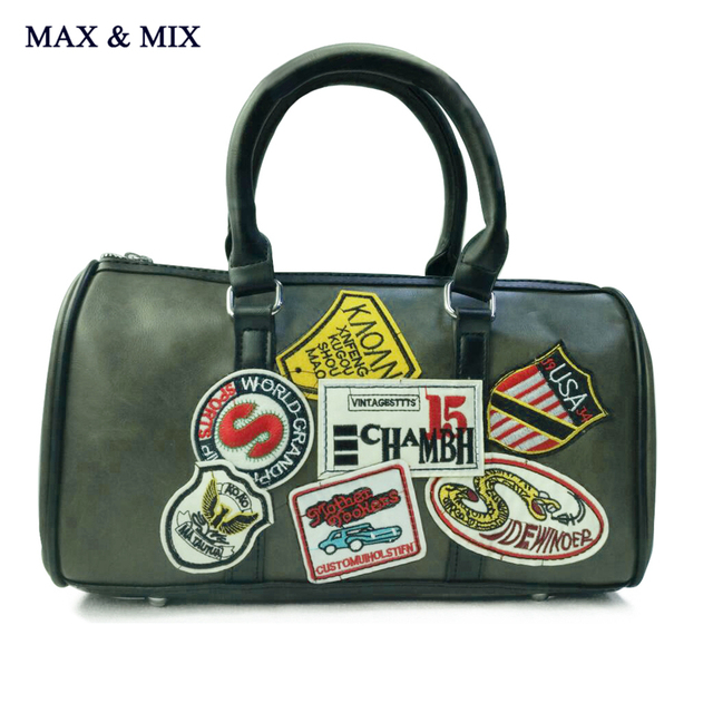 Max Mix New Las Designer Bowler Women Handbag Retro Shoulder Bags Luggage Travel Boston Barrel Shaped Grip