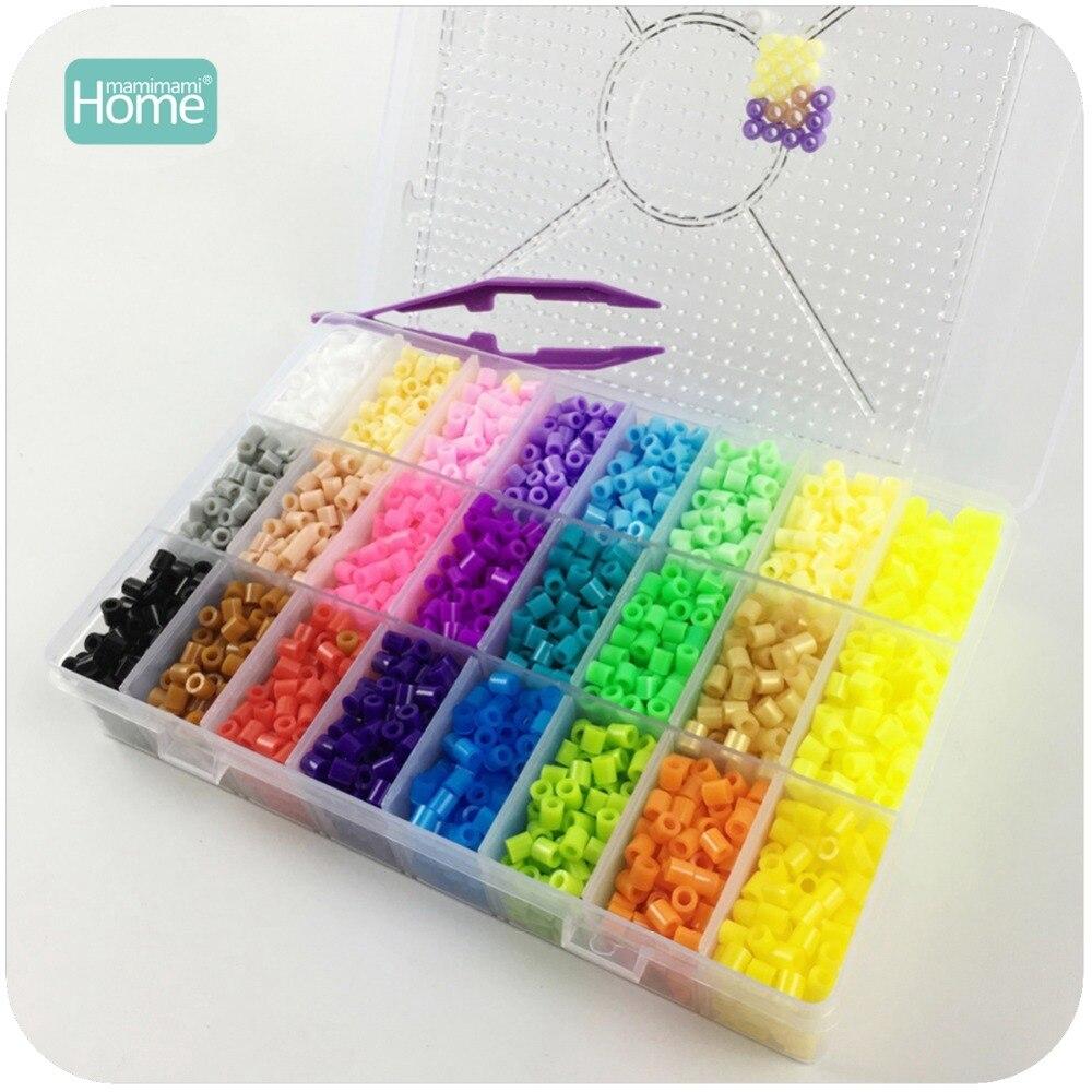 MamimamiHome Hama Bead 5000 Perler cuentas 5mm 24 caja de colores de los niños Diy juguetes cuentas tablero de planchado de juguete de dibujo