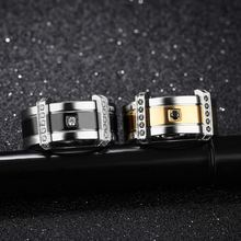 Мужское кольцо с фианитом обручальное черного и золотого цвета