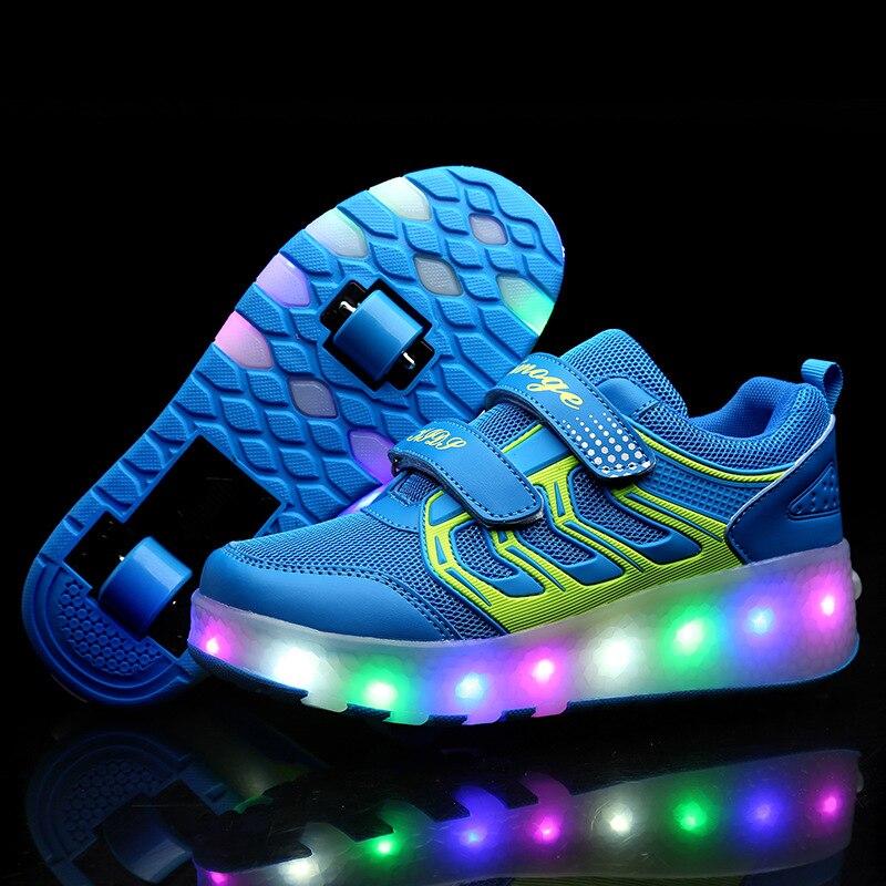 купить Size 27-43 Children Colorful LED Flashing Double Roller Skate Shoes For Kids Men Women Roller Skates LED Luminous Sneakers Light по цене 2208.56 рублей