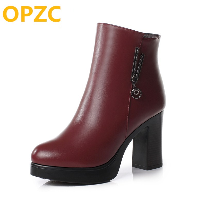 OPZC 2018 new women genuine leather boots, fashion thick wool warm female snow boots, high-heeled Martin boots women 2017 new women s genuine leather boots motorcycle boots rough with in tube high heeled boots thick wool really pima ding