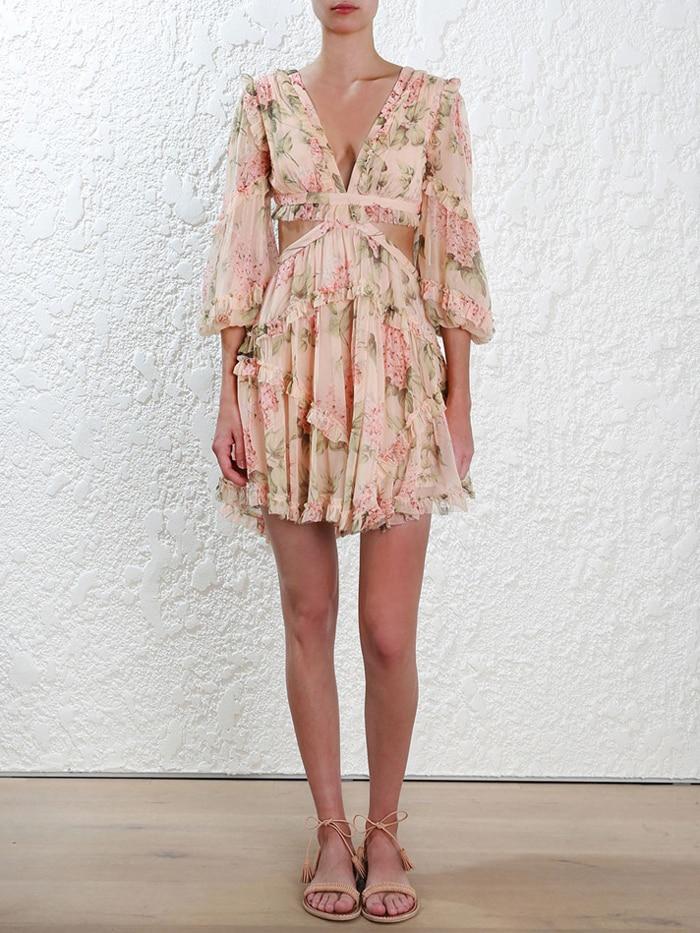 19 New summer beach mini dress woman spaghetti strap cross backless sexy deep v print bodycon vestidos fashion short dress 6