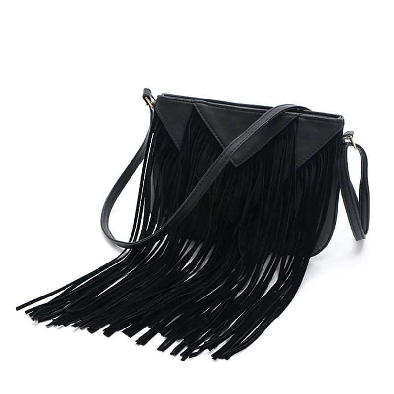 Aliexpress.com   Buy New List Product Women Fringe Tassels Bag Black  Leather Shoulder Handbag Charm Beach Ladies Messenger Tassel Crossbody Bags  Hot from ... 313ede7b4d