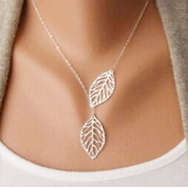 Women's Double Leaf Pendant Necklace