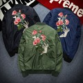 Top Brand New Fashion Mens Flower Baseball Jackets Man Floral Bomber Embroidered Flight jacket Stand Collar Casual Coats 3XL