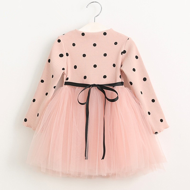 DreamShining Girls Dress Fashion Bow Dot Children Clothing Ball Gown Costume For Kids Dresses Long Sleeve Baby Girl Clothes ручка шариковая parker urban metro metallic ct 0 7 мм синяя корпус хром