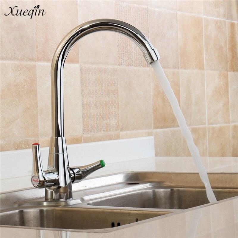 цена на Xueqin New Twin Lever Swivel Spout Modern Chrome Kitchen Sink Basin Mixer Tap Kitchen Faucets