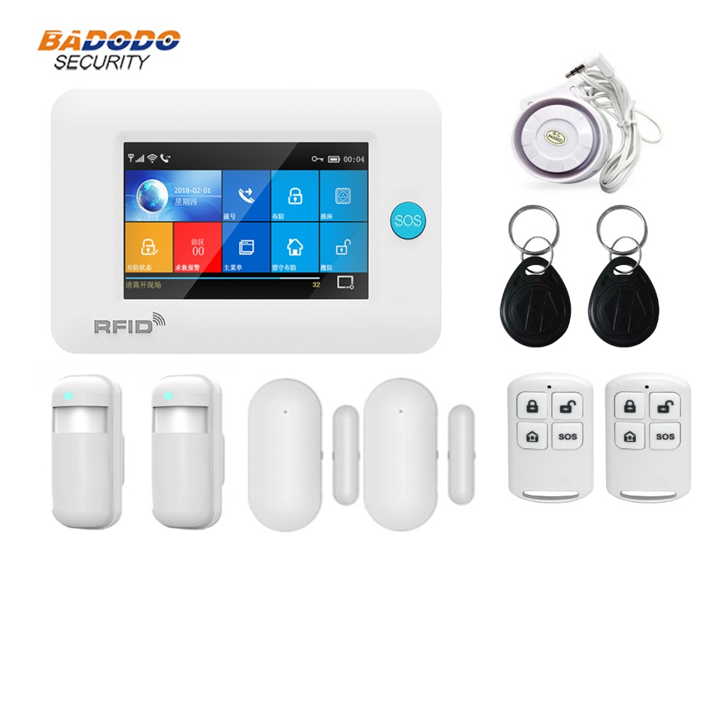 Dual network Wireless WiFi 3G GSM GPRS intelligent home Alarm system 4.3 inch Touch Screen for smart Home Security monitor alarm-in Alarm System Kits from Security & Protection    2