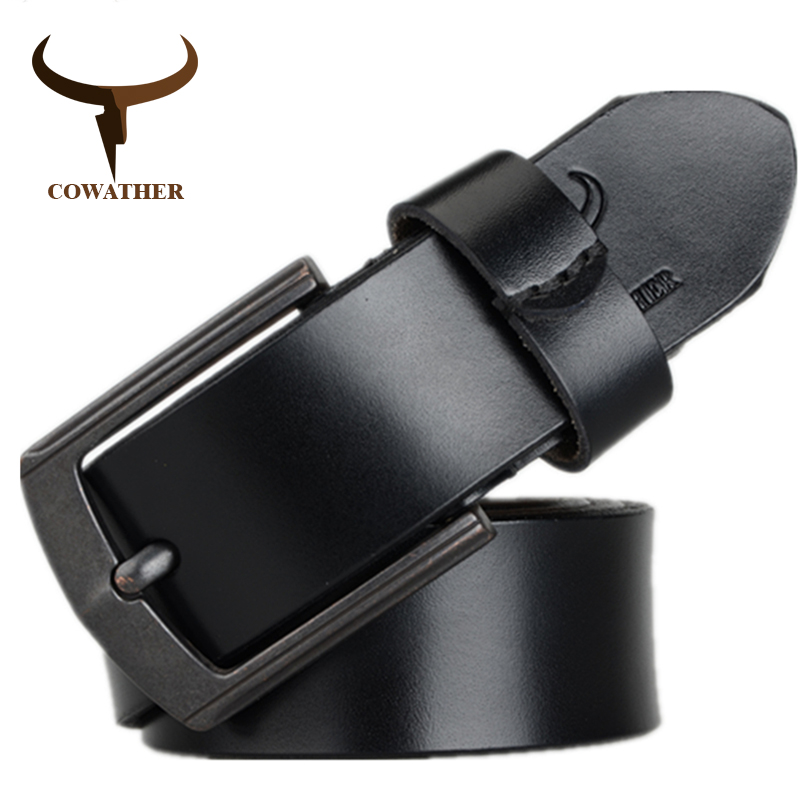 COWATHER 2018 cow genuine leather mens   belt   for men high quality vintage style 100-130cm male strap ceinture homme free shipping