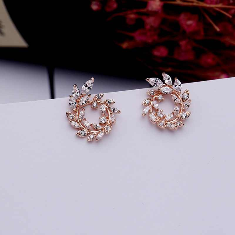 MIGGA boucles d'oreilles en zircon cubique feuille de branche douce couleur or Rose élégant boucles d'oreilles en cristal pour les femmes
