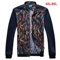 2016 spring autumn mens plus size 5xl jackets and coats floral jacket zipper stand collar long sleeve jacket men JK707