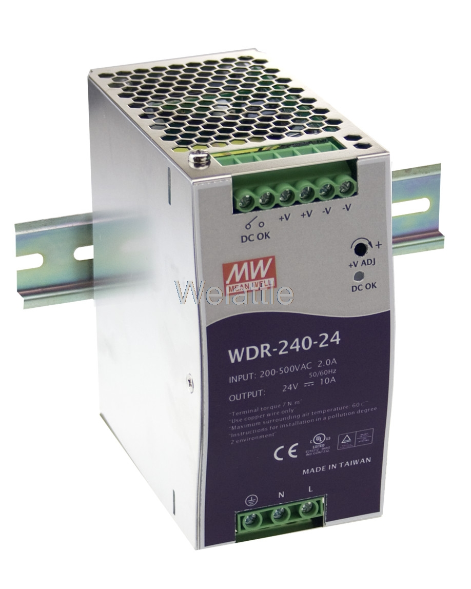[Cheneng]MEAN WELL original WDR-240-24 24V 10A meanwell WDR-240 24V 240W Single Output Industrial DIN RAIL Power Supply [powernex] mean well enc 240 24 240w desktop single output battery charger meanwell enc 240