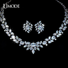 UMODE Brand Luxury Wedding Poem of Spring Jewelry Sets Rhodium plated Top Grade CZ Necklaces Earrings Set AUS0010