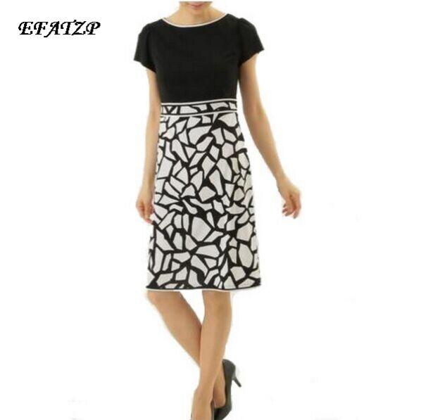 Nowy 2017 moda lato projektant marki sukienka damska z krótkim rękawem geometryczny wzór XXL Stretch Jersey Silk dzień sukienka w Suknie od Odzież damska na  Grupa 1