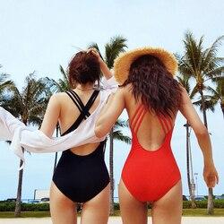 Женский купальник с пуш-ап 2019, монокини, купальник с бретелькой через шею, топ, купальник для женщин, черный и красный, сексуальный цельный ку... 4