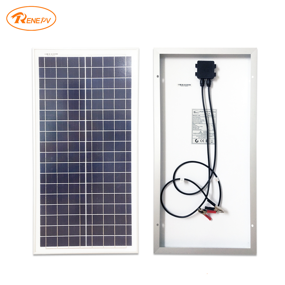Renepv Brand 30W polycrystalline silicon solar panel 36pcs cells 18V solar charger green energy panel RD30TU-18P high quality 18v 2 5w polycrystalline stored energy power solar panel module system solar cells charger 19 4x12x0 3cm