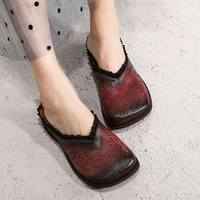 2019 VALLU Summer Original Leather Shoes Slides Square Toes Woman Genuine Leather Handmade Cover Toe Lady Female Flat Slippers