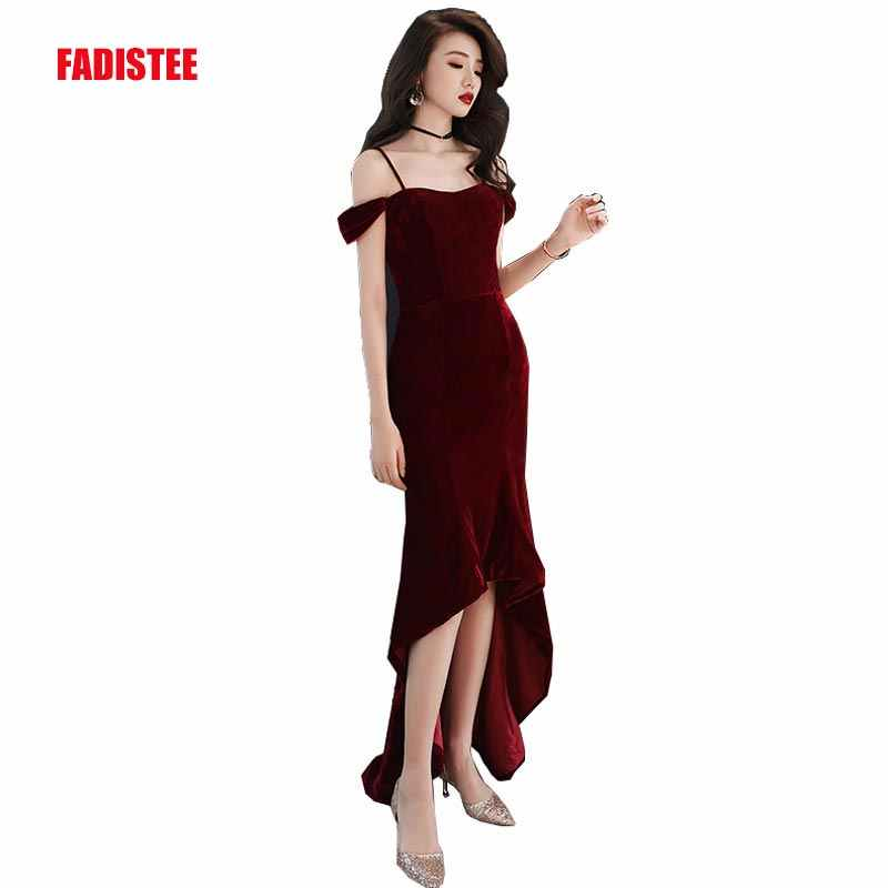 Detail Feedback Questions about FADISTEE New arrival party dress evening  dress Vestido de Festa sexy velour high low frock prom gown Burgundy 2019  style on ... 5b2f6ab6553e