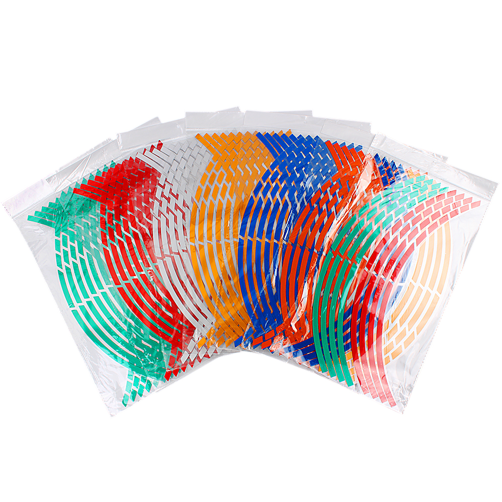 16 Strips Tape Reflective 17 or 18 inch Wheel Rim Sticker 7 Colors Car Styling Car Stickers Motorcycle Accessories 16 strips motorcycle accessories 7 colors car styling decals 17 or 18 inch car stickers wheel rim sticker reflective tape