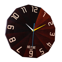 15 Inch Wall Clock Modern Design Creative Handmade Oak Wood Soundless Quartz Needle Clock