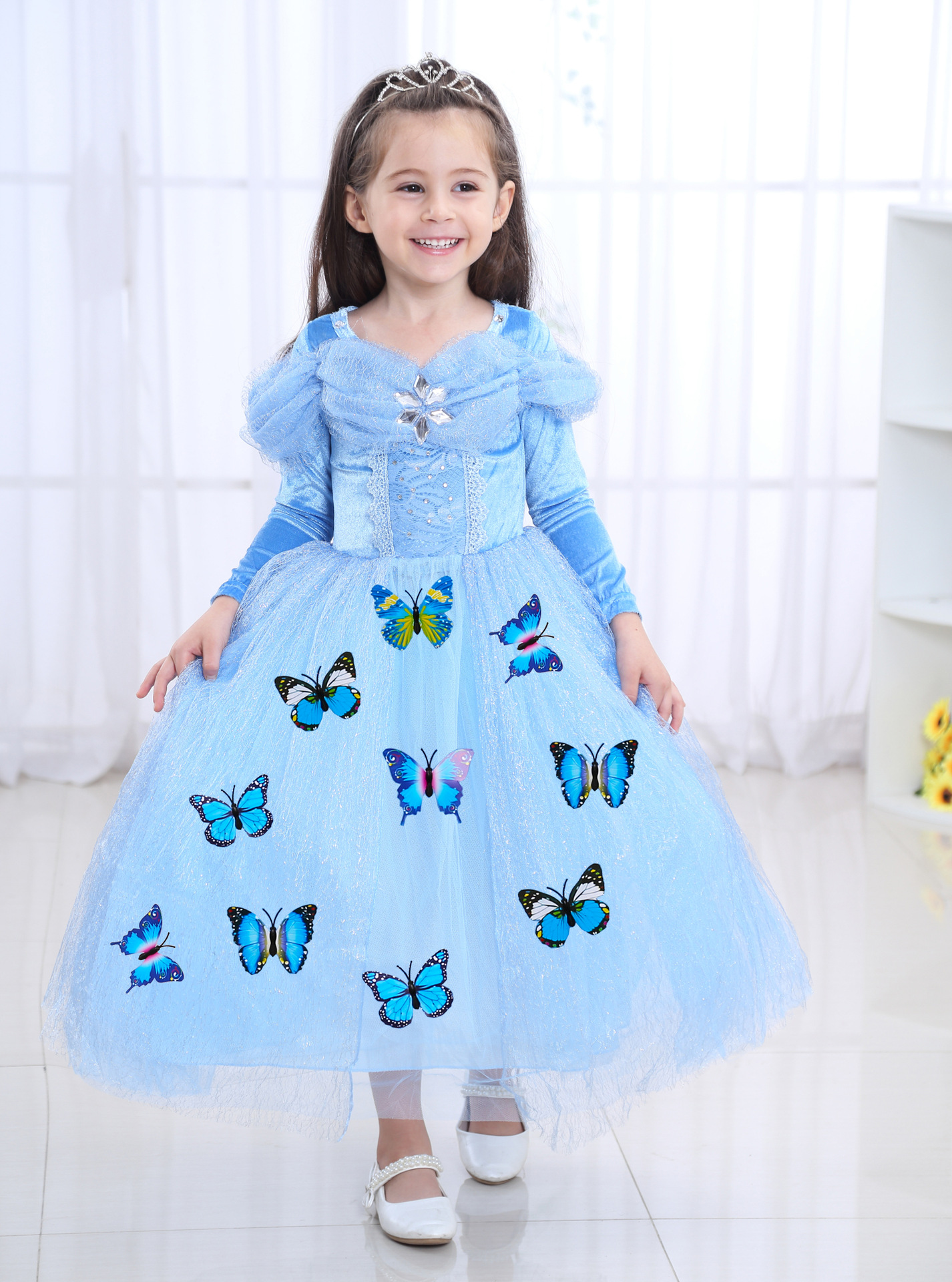 2019 New Kids Carnival Clothing Halloween Children's Cinderella Cosplay Costume  Girl Anna Elsa Princess Dress Age 3-12 Year