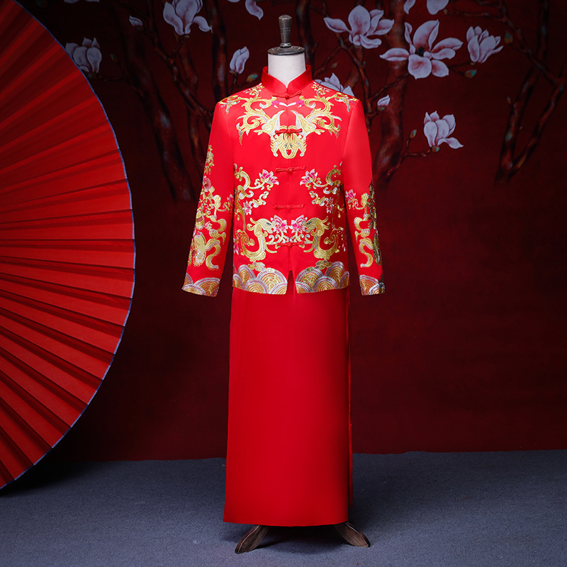 male red cheongsam toast costumes grooms dress jacket long gown traditional Chinese style wedding Qipao men embroidery tang suit