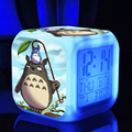 action toy figure Kids ledclock Totoro Japanese Anime Cartoon Led Digital  Desktop  Color Light Vintage