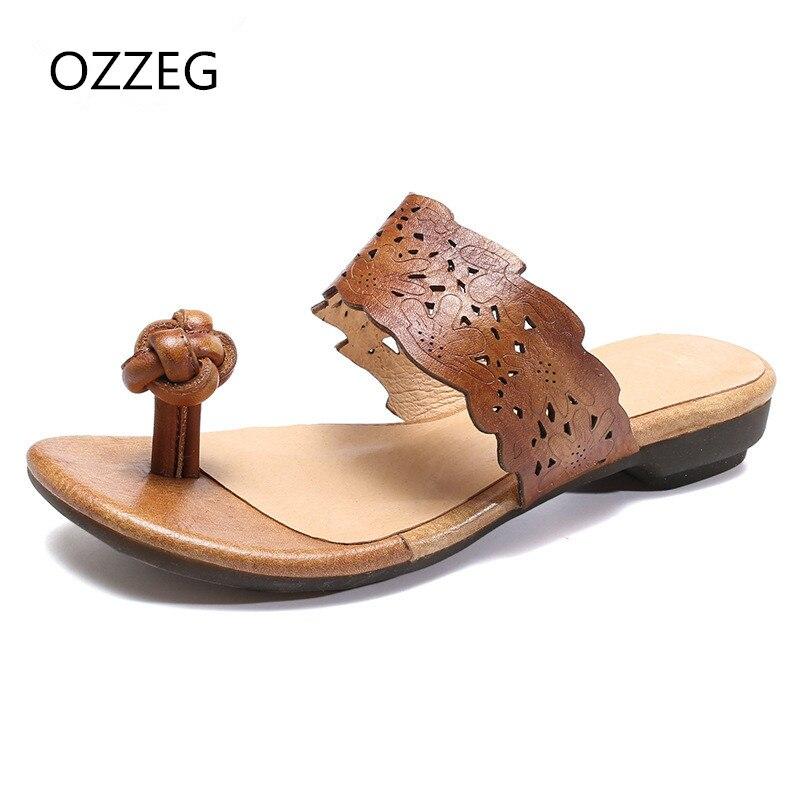 Letní pantofle Ženy hovězí kůže pantofle sandály Ženy Obuv pro volný ... 1fa040a1d2
