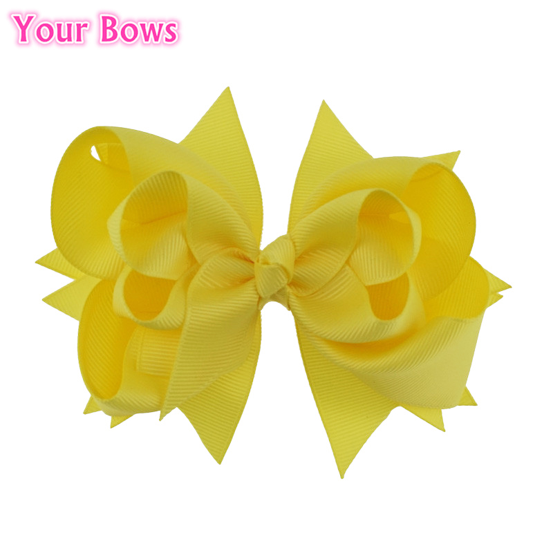 Your Bows 1PC 5 inches Baby Hair Bows 3 Layers Solid Lemon Bows Hair Clips Boutique Ribbon Bows For Girls Hair Accessories
