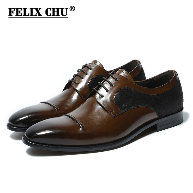 FELIX CHU 2018 Luxury Genuine Leather Men Dress Derby Shoes Wedding Party  Business Lace Up Brown Formal Footwear With Horse Hair 22247ea3a496