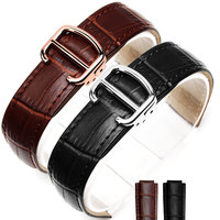 14mm 18mm 20mm 22mmHigh Quality balck Brown Genuine Leather Watch Band Strap Gold deployment Buckle Clasp fit Cartier watchband