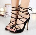 Free shipping 2017 Spring Europe style new Cross straps Roman hollow fashion pumps women shoes heel 12cm
