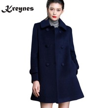 Women's Winter Coats Female Brand Korean Long Woolen Warm Overcoat Loose Femininos Jacket Plus Size M-4XL Double-Breasted Coats