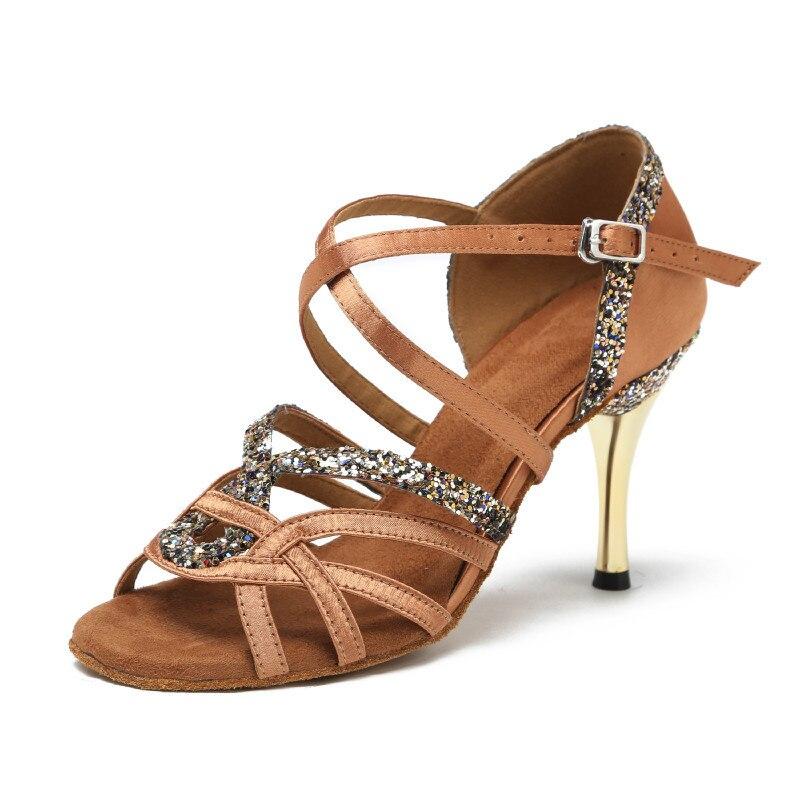 High heel women latin dance shoes salsa satin ballroom dancing shoes rhinestone ballroom clothing, shoes accessories
