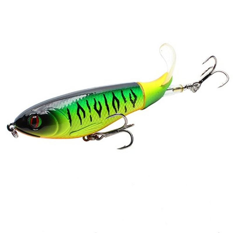1pcs New Quality 9cm 17g Whopper Plopper Topwater Floating Fishing Lure Artificial Hard Popper Bait Soft Rotating Tail 8 colors in Fishing Lures from Sports Entertainment