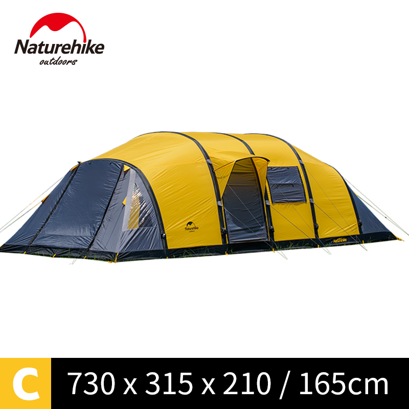 NatureHike Wormhole 8-10 people Tent for family holiday large camping tent NH17T400-T naturehike factory store cloud burst shelter 8 10 people tent for family team large camping tent 2 in 1 tent awning