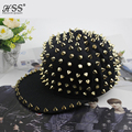 Unisex Punk Hedgehog Rock Rivet Cap Newest Unique Gold Silver Rivet Hat Fashion Snapback for Street Hip-hop Rivet man woman Cap