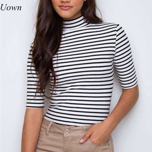 Fashion Basic Women Black White Striped Turtleneck Short T-Shirt Summer Half Sleeve Casual Tee Collar Black White Pullover Top