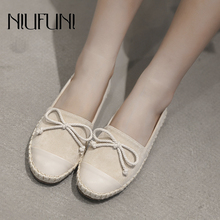 Linen Women Leather Loafers NIUFUNI 2019 Fashion Ballet Flats Shoes Woman Slip On Bow Boat Shoes Shallow Casual Moccasins 9 colors 2018 spring women loafers fashion ballet flats sliver white black shoes woman slip on boat casual shoes moccasins s043