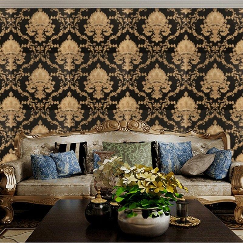 Wellyu damassé papier peint rouleau noir et blanc classique décor à la maison TV fond mur PVC vinyle papier peint pour papier peint
