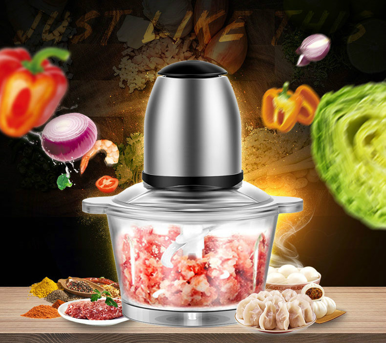 Meat Grinders grinder USES electric stainless steel fillings to stir and mix garlic puree NEW meat grinders grinder uses an electric stainless steel to churn the minced dumplings new