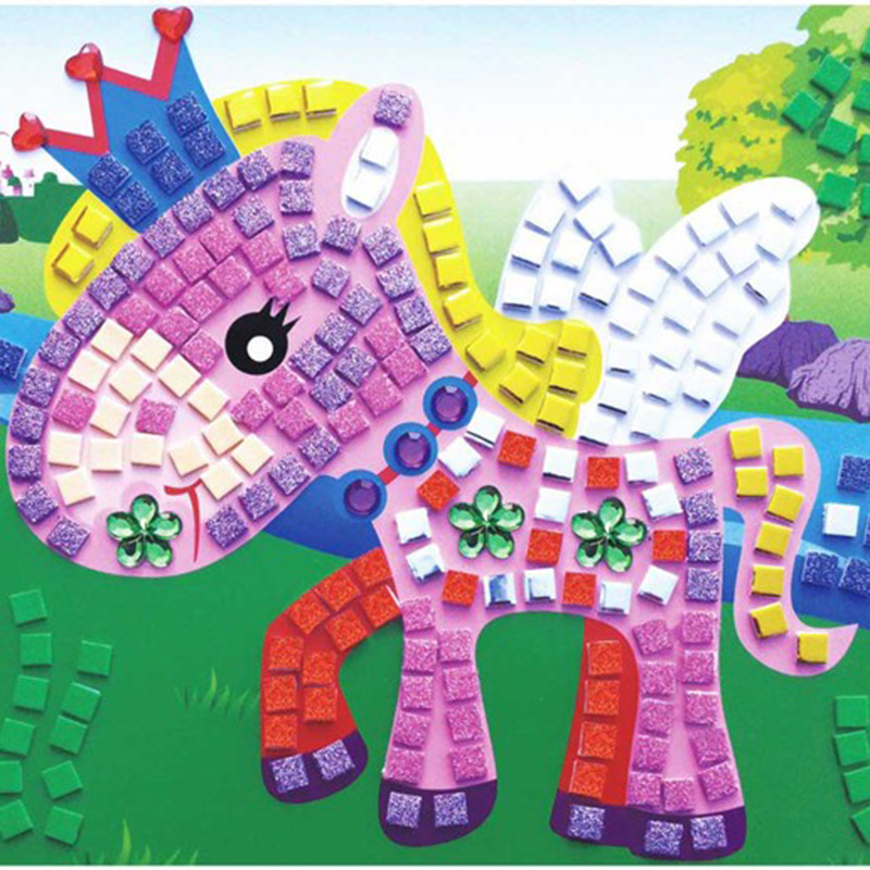3D DIY Children Puzzle EVA Foam Mosaic Stickers Art  Cartoon Crystal Sticker Creative Educational Toys For Kids