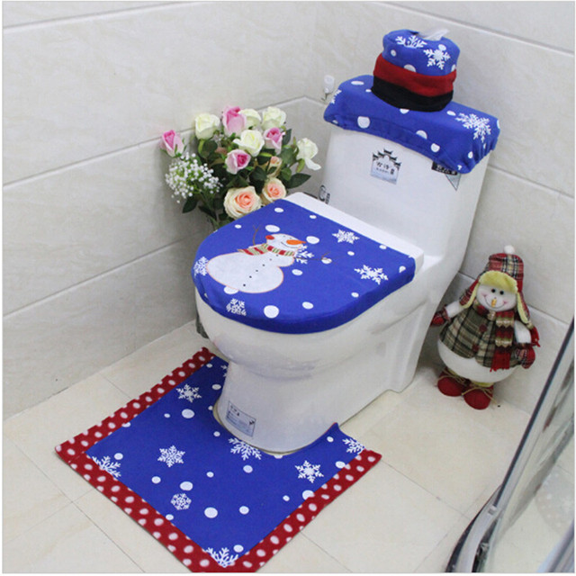 Christmas Bathroom 3PCs Set Blue Tree Snowman Toilet Seat Cover Rug New Year Decorate Adornos