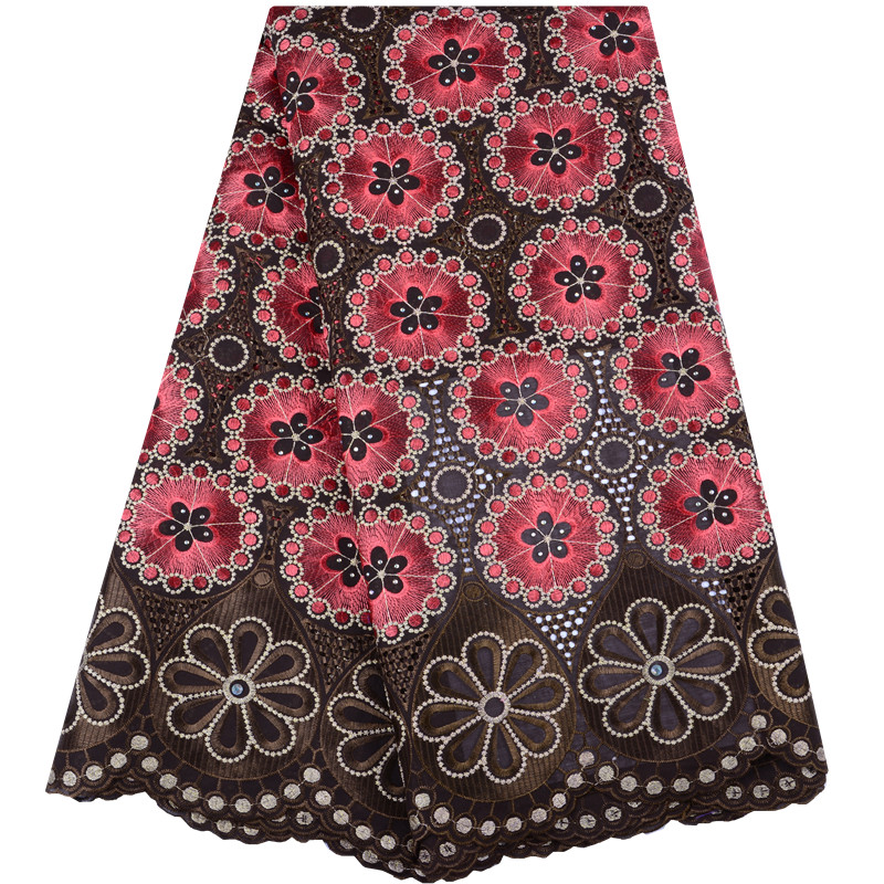Latest Brown African Embroidery Cotton Lace Fabric High Quality Nigeria Swiss Voile Lace In Switzerland For